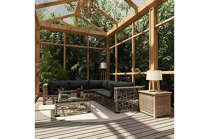 Loungegrupp för trädgården med dynor 6 delar konstrotting - Grå - Utemöbler - Loungemöbler - Loungegrupper