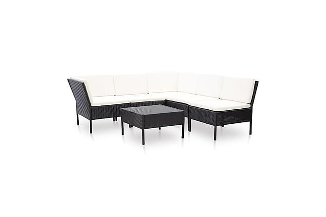 Loungegrupp för trädgården med dynor 6 delar konstrotting - Svart - Utemöbler - Loungemöbler - Loungegrupper