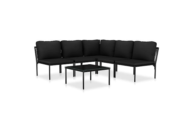 Loungegrupp för trädgården med dynor 6 delar svart PVC - Svart - Utemöbler - Loungemöbler - Loungegrupper