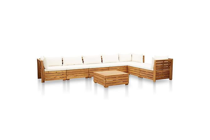 Loungegrupp för trädgården med dynor 8 delar akaciaträ - Vit - Utemöbler - Loungemöbler - Loungegrupper