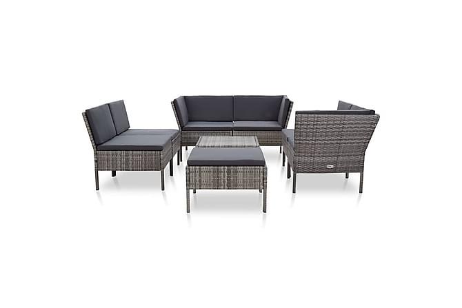 Loungegrupp för trädgården med dynor 8 delar konstrotting - Grå - Utemöbler - Loungemöbler - Loungegrupper