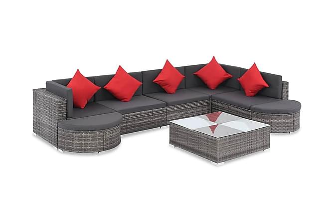 Loungegrupp för trädgården med dynor 8 delar konstrotting - Grå|Mörkgrå|Röd - Utemöbler - Loungemöbler - Loungegrupper