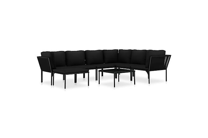 Loungegrupp för trädgården med dynor 8 delar svart PVC - Svart - Utemöbler - Loungemöbler - Loungegrupper