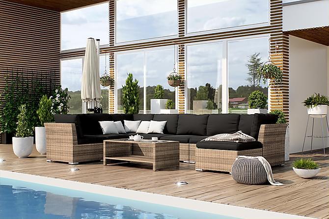 Loungegrupp Hillerstorp Wisconsin 8-sits - Sand Bord Divan - Utemöbler - Loungemöbler - Loungegrupper