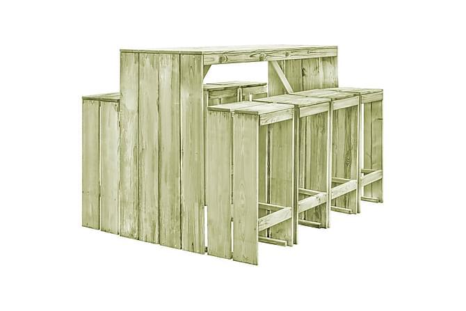 Matgrupp för trädgården 9 delar FSC impregnerad furu - Beige|Grön - Utemöbler - Loungemöbler - Loungegrupper