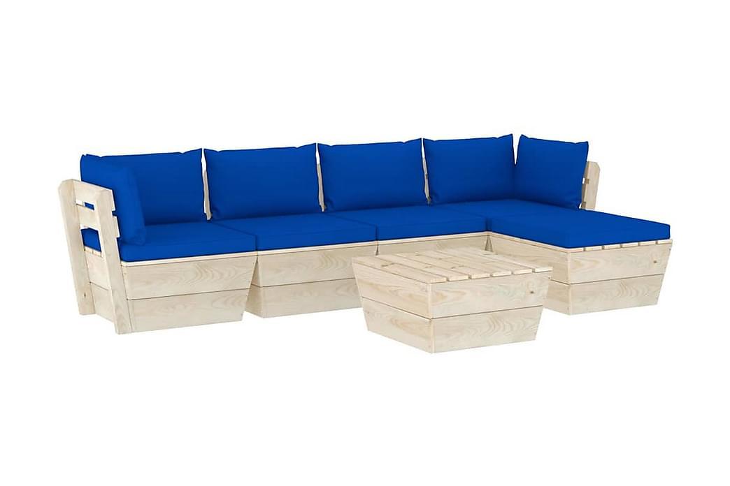 Pallsoffa för trädgården med dynor 6 delar granträ - Blå - Utemöbler - Loungemöbler - Loungegrupper