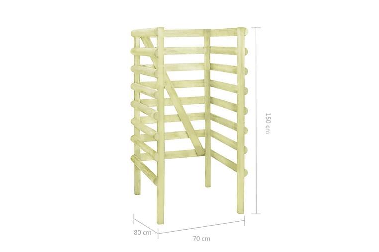 Skjul till ett sopkärl grön 70x80x150 cm impregnerad furu - Grön - Utemöbler - Välj efter material - Trä & teak