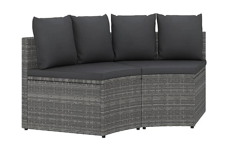 Trädgårdssoffset med dynor 2 delar konstrotting grå - Grå - Utemöbler - Loungemöbler - Loungesoffor