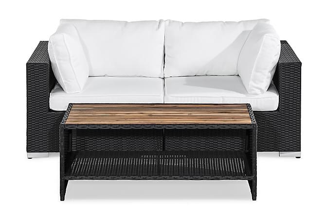 Loungegrupp Bahamas 2-sits - Svart|Akacia Bord - Utemöbler - Balkongmöbler - Soffgrupper för balkong