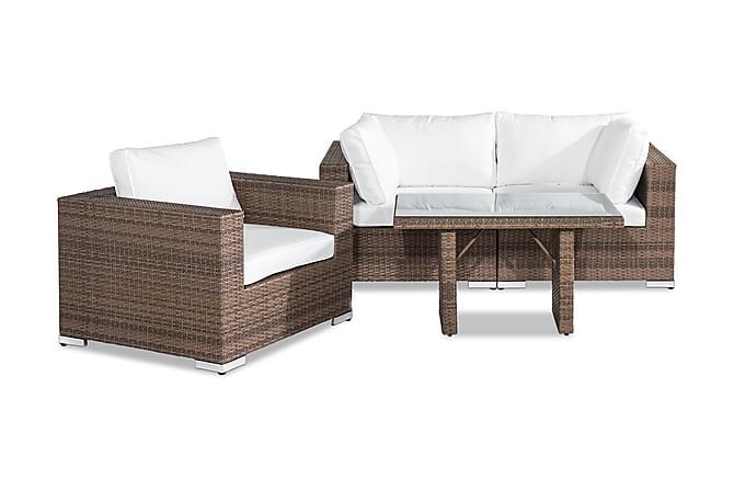 Loungegrupp Bahamas 3-sits - Sand Bord Fåtölj - Utemöbler - Balkongmöbler - Soffgrupper för balkong