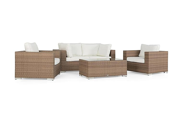 Loungegrupp Bahamas 4-sits 1 Bord - 2 Fåtöljer Sand - Utemöbler - Loungemöbler - Loungegrupper