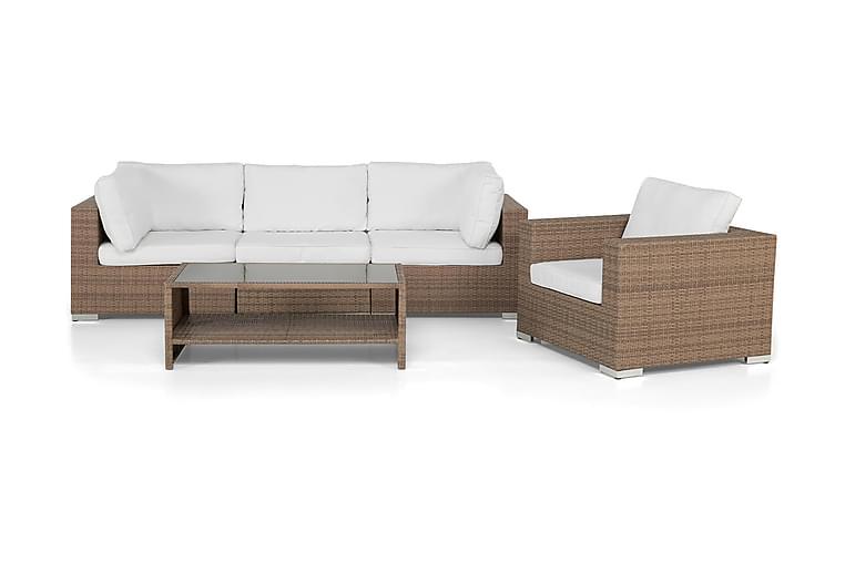 Loungegrupp Bahamas 4-sits Bord m Hylla - Fåtölj Sand - Utemöbler - Loungemöbler - Loungegrupper