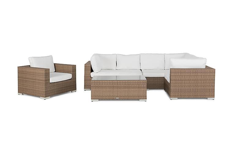 Loungegrupp Bahamas 6-sits Bord - Fåtölj Sand - Utemöbler - Loungemöbler - Loungegrupper