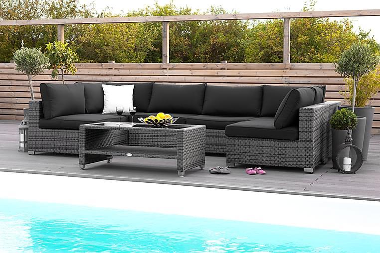 Loungegrupp Bahamas 6-sits Bord m Hylla - Grå - Utemöbler - Loungemöbler - Loungegrupper