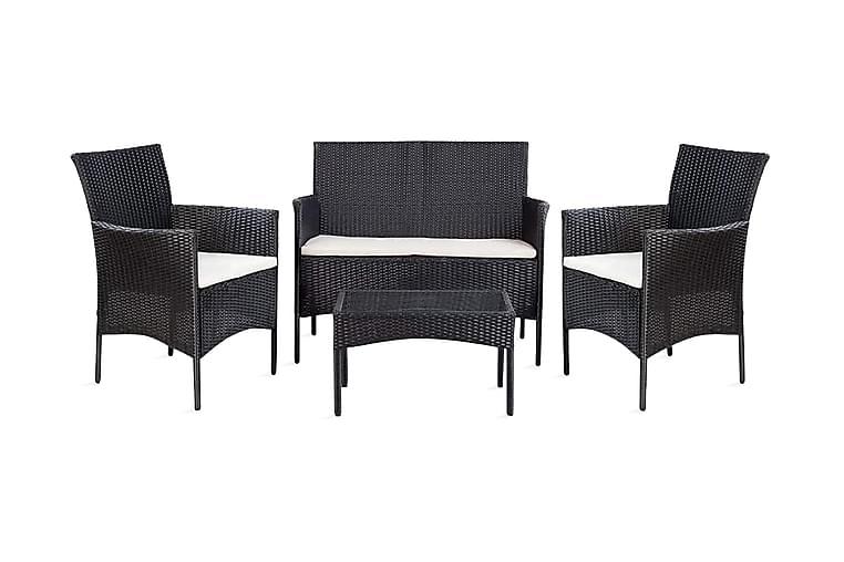 Loungegrupp för trädgården med dynor 4 delar konstrotting - Svart - Utemöbler - Loungemöbler - Loungegrupper