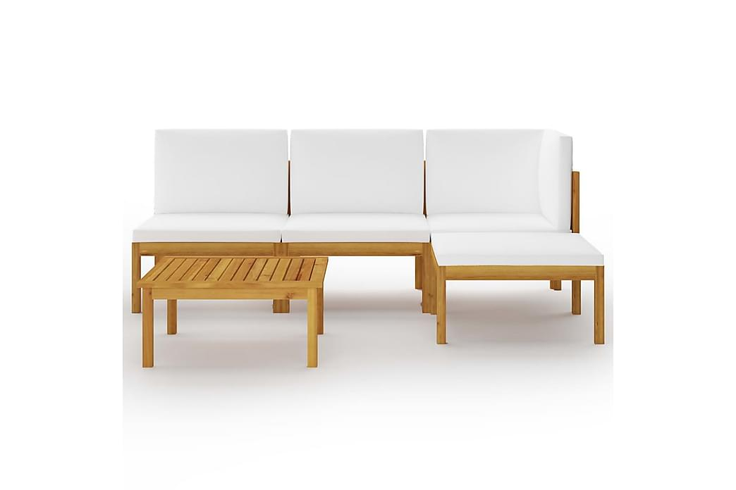 Loungegrupp för trädgården med dynor gräddvit 5 delar - Brun - Utemöbler - Loungemöbler - Loungegrupper