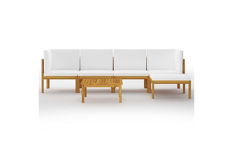 Loungegrupp för trädgården med dynor 6 delar akaciaträ - Brun - Utemöbler - Loungemöbler - Loungegrupper