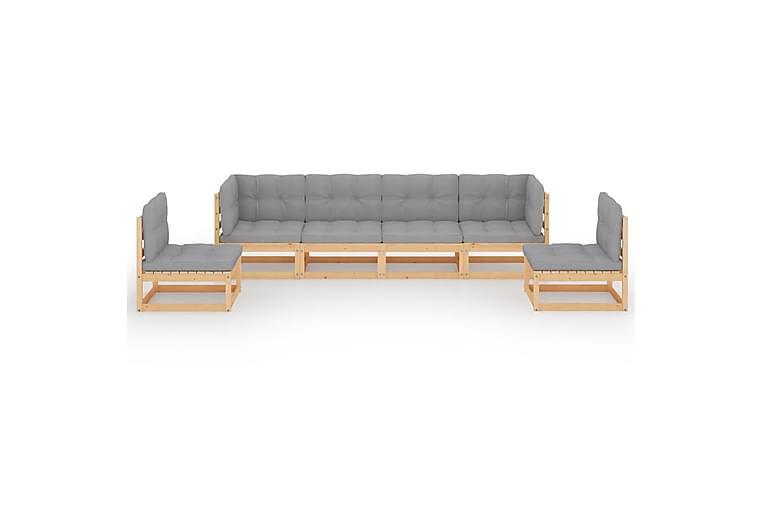 Loungegrupp med dynor 6 delar massiv furu - Brun - Utemöbler - Loungemöbler - Loungegrupper