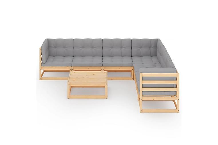 Loungegrupp med dynor 8 delar massiv furu - Brun - Utemöbler - Loungemöbler - Loungegrupper