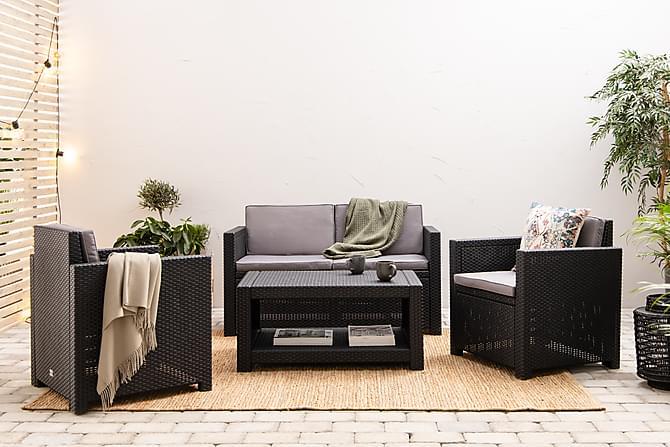 Soffgrupp Castell - Svart - Utemöbler - Loungemöbler - Loungegrupper