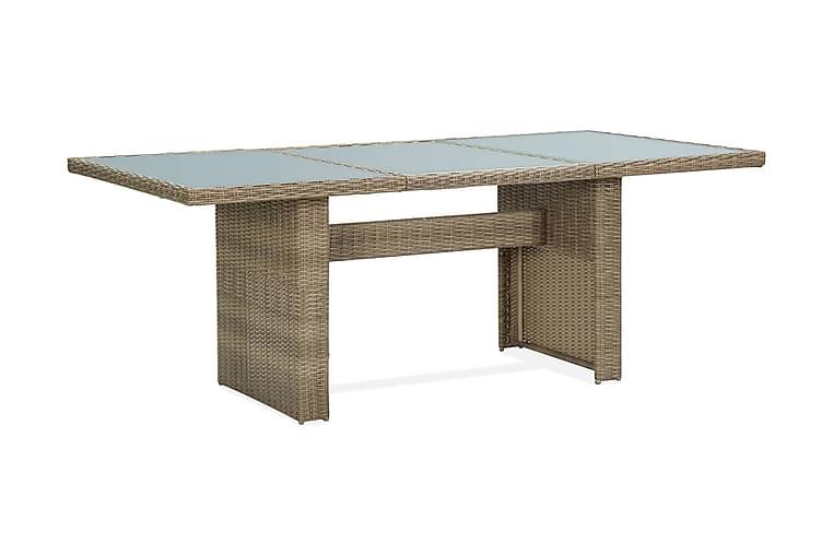 Trädgårdsbord brun 200x100x74 cm glas och konstrotting - Brun - Utemöbler - Utebord - Matbord