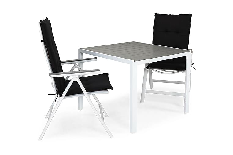 Matgrupp Tunis 90x90 + 2 Monaco Light Positionsstol m Dyna - Vit|Grå|Svart - Utemöbler - Matgrupper utomhus - Kompletta matgrupper