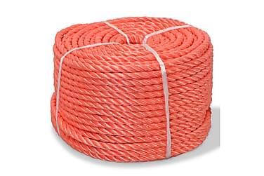 Tvinnat rep i polypropylen 8 mm 200 m orange