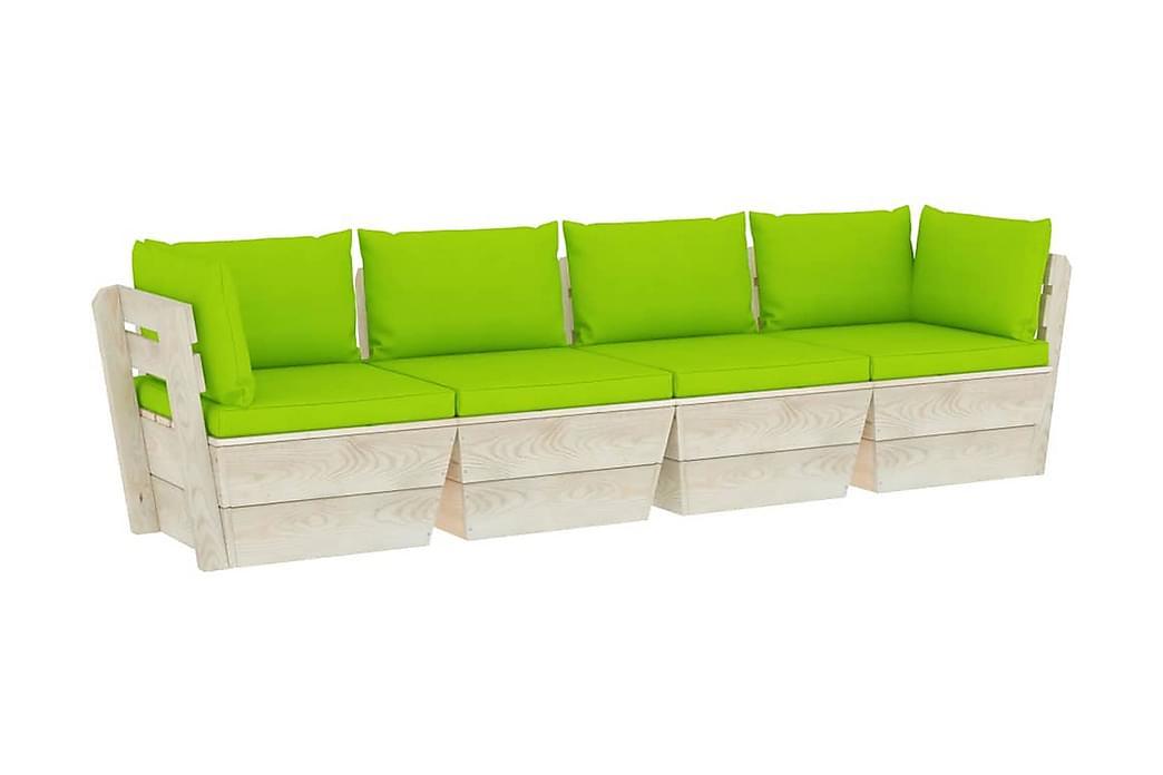 Pallsoffa 4-sits med dynor granträ - Grön - Utemöbler - Välj efter material - Trä & teak