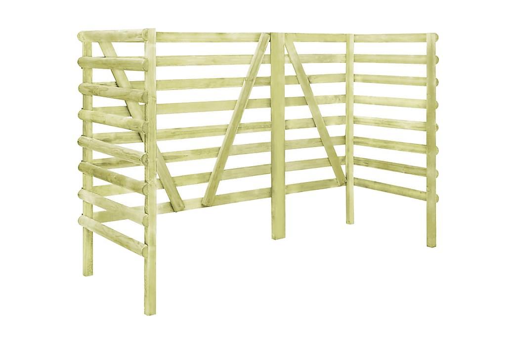 Skjul till 3 sopkärl grön 210x80x150 cm impregnerad furu - Grön - Utemöbler - Välj efter material - Trä & teak