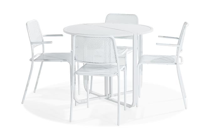 Cafégrupp Flippy 90 Rund + 4 Logan Stol med Armstöd - Vit - Utemöbler - Matgrupper utomhus - Cafégrupper