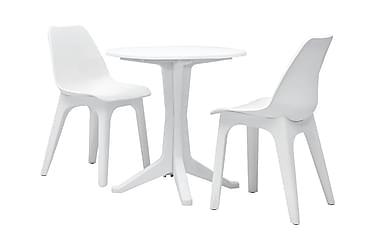 Caféset 3 delar plast vit