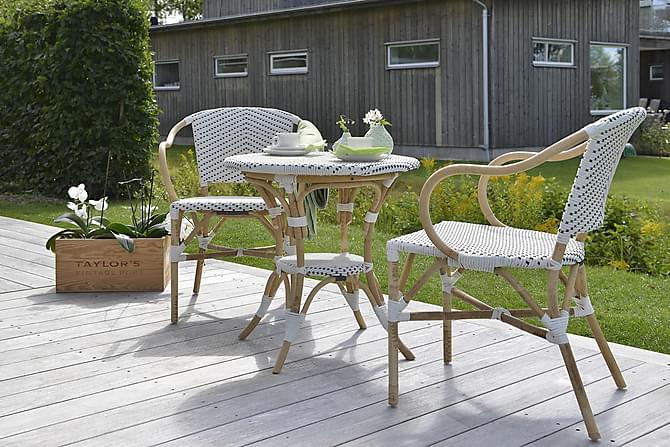 Caféset Hillerstorp Select 69 Runt + 2 Stolar - Vit|Beige - Utemöbler - Matgrupper utomhus - Cafégrupper