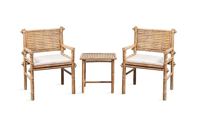 Caféset med dynor 3 delar bambu - Vit - Utemöbler - Matgrupper utomhus - Cafégrupper