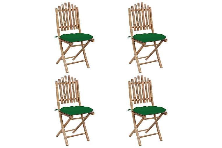 Hopfällbar matgrupp för trädgården med dynor 5 delar bambu - Brun - Utemöbler - Matgrupper utomhus - Kompletta matgrupper