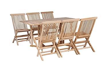 Matbord hopfällbart med stolar 7 delar massiv teak