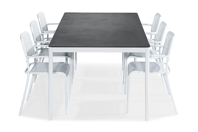 Matgrupp Alex 200x100 + 6 Logan Stol med Armstöd - Vit|Grå Stenlook - Utemöbler - Matgrupper utomhus - Kompletta matgrupper