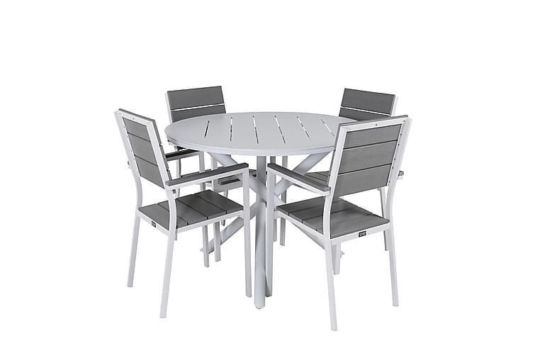 Matgrupp Almedalen Rund 120 cm + 4 Konob Stapelstolar - Vit/Grå - Utemöbler - Matgrupper utomhus - Kompletta matgrupper