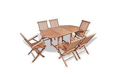 Matgrupp för trädgården m. förlängningsbart bord 7 delar tea