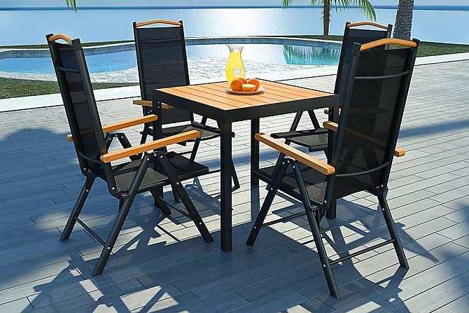 Matgrupp för trädgården m. hopfällbara stolar 5 delar - Svart|Brun - Utemöbler - Matgrupper utomhus - Kompletta matgrupper