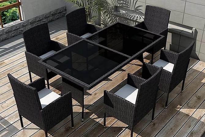 Matgrupp för trädgården med dynor 7 delar konstrotting svart - Svart - Utemöbler - Matgrupper utomhus - Kompletta matgrupper