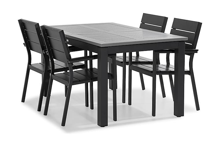 Matgrupp Monaco 152-210x90 + 4 Tunis Stapelstol - Svart - Utemöbler - Matgrupper utomhus - Kompletta matgrupper