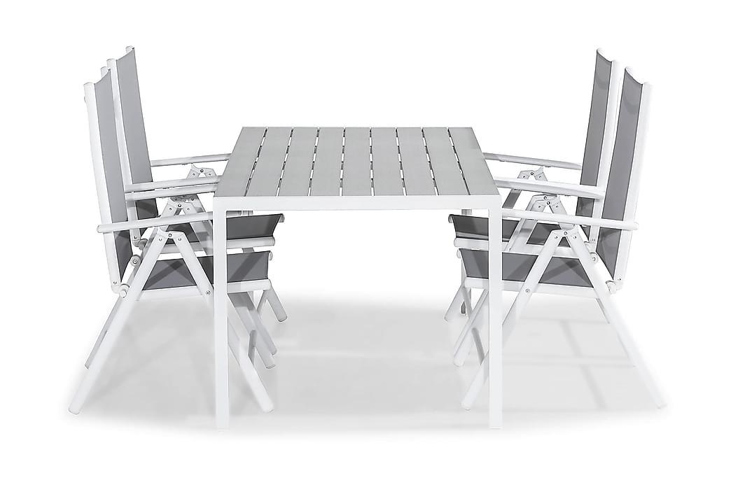 Matgrupp Tunis 150x90 + 4 Maggie Positionsstol - Vit|Grå - Utemöbler - Matgrupper utomhus - Kompletta matgrupper