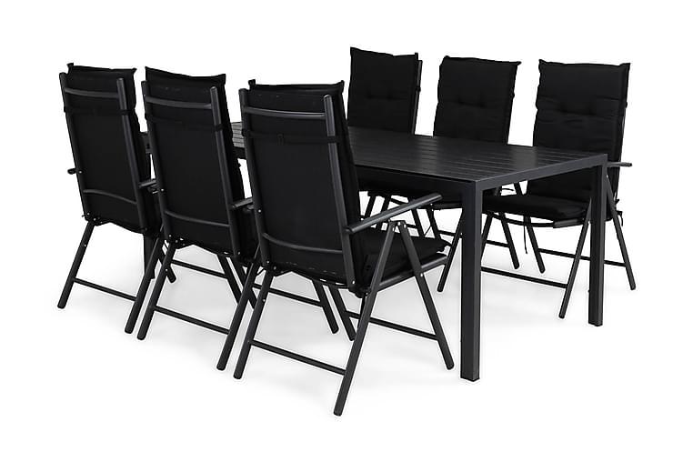 Matgrupp Tunis 205x90 + 6 Maggie Positionsstol m Dyna - Svart - Utemöbler - Matgrupper utomhus - Kompletta matgrupper