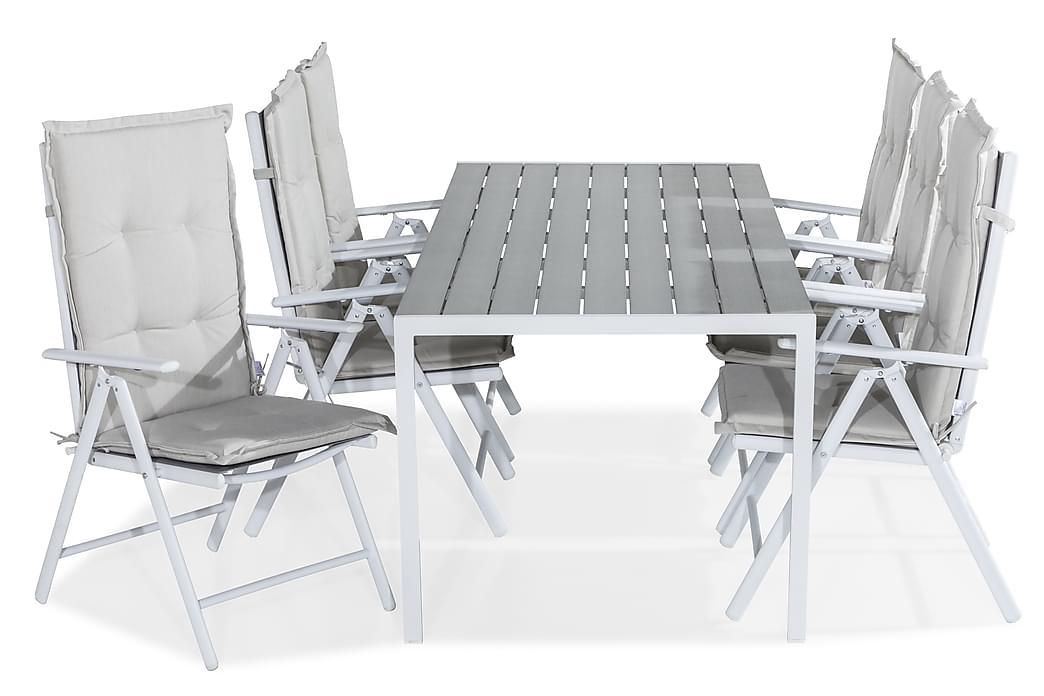 Matgrupp Tunis 205x90 + 6 Maggie Positionsstol m Dyna - Vit|Grå|Offwhite - Utemöbler - Matgrupper utomhus - Kompletta matgrupper