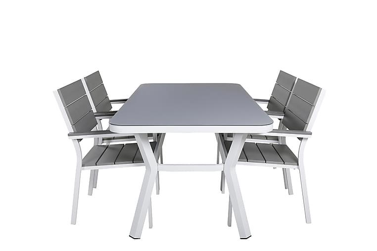 Matgrupp Vanja 160 cm + 4 Konob Stapelstolar - Vit/Grå - Utemöbler - Matgrupper utomhus - Kompletta matgrupper