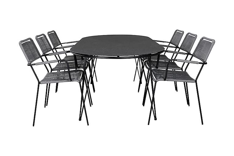 Matgrupp Viggo 200 cm + 6 Linero Karmstolar - Grå/Svart - Utemöbler - Matgrupper utomhus - Kompletta matgrupper