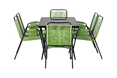 RIBSTON Bord 140 + 6 stolar Grön
