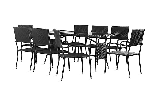 Trädgårdsmöbelset i 9 delar konstrotting svart - Svart - Utemöbler - Matgrupper utomhus - Kompletta matgrupper