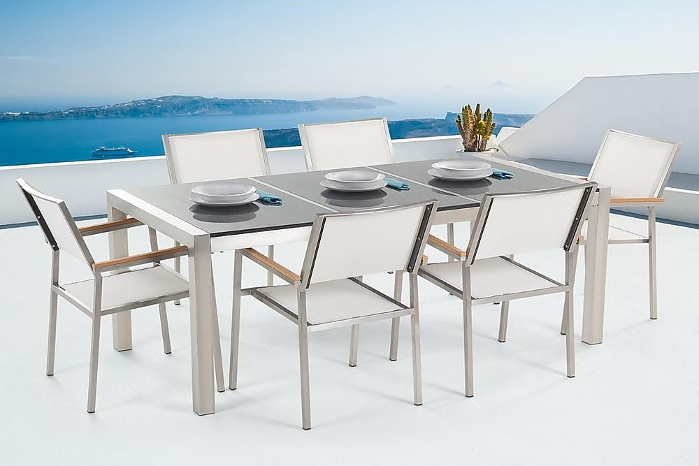 Trädgårdsmöbelset Med Bord+6 Stolar Grosseto - Grå - Utemöbler - Matgrupper utomhus - Kompletta matgrupper