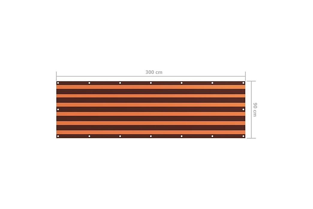 Balkongskärm orange och brun 90x300 cm oxfordtyg - Flerfärgsdesign - Utemöbler - Solskydd - Balkongskydd
